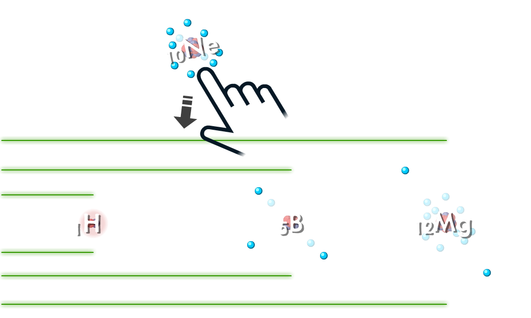 Atoms game - player places a neon atom in the correct place in a series of atoms in order of increasing atomic radii.