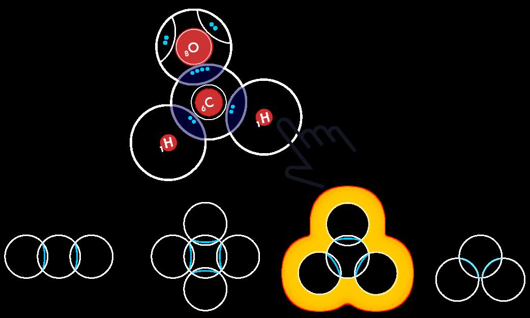 Covalent Bonding game - player builds CH2O to match a trigonal planar shape target.